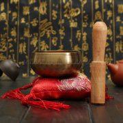 Sino Tibetano de Meditação Ressonância Harmônica 80mm Com Alfomada Vermelha Missão Tailândia Expedição (2)